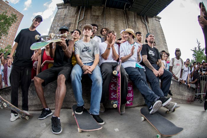 Nike SB Team waiting to leave to pop up park in Brooklyn