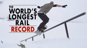 Basti Rittig snowboarding longest rail world record